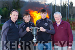 St Brendans College Captain Dara Moynihan and Spa team mate Niall McCarthy celebrated their Hogan cup win as the bonfires burnt at his home club Spa Gaa on Sunday evening<br /> with Spa Chairman Ger Mangan and St Brendans manager Gary Stack