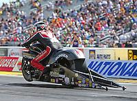 Aug 21, 2016; Brainerd, MN, USA; NHRA pro stock motorcycle rider Matt Smith during the Lucas Oil Nationals at Brainerd International Raceway. Mandatory Credit: Mark J. Rebilas-USA TODAY Sports