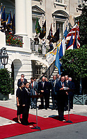***FILE PHOTO*** George H.W. Bush Has Passed Away<br /> Washington, DC., USA, September 1, 1989<br /> President George H. W. Bush and Japanese Prime Minister Toshiki Kaifu, after meeting together in the Oval Office deliver their remarks at the South Portico of the White House. Prime Minister Kaifu spoke in Japanese, and his remarks were translated. <br /> CAP/MPI/MRN<br /> &copy;MRN/MPI/Capital Pictures