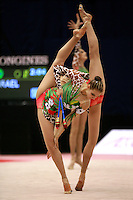 (Foreground) Katerina Pisetsky pivots with Israel rhythmic group at 2006 Mie World Cup Finale of rhythmic gymnastics on November18, 2006.<br />