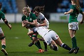 16th March 2018, Ricoh Arena, Coventry, England; Womens Six Nations Rugby, England Women versus Ireland Women; Niamh Briggs of Ireland is tackled by Victoria Cornborough of England
