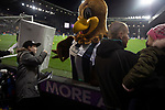Home supporters behind one of the goals are greeted by the club mascots Baggie Bird and Boiler Man before West Bromwich Albion take on Leeds United in a SkyBet Championship fixture at the Hawthorns. Formed in 1878, the home team were relegated from the English Premier League the previous season and were aiming to close the gap on the visitors at the top of the table. Albion won the match 4-1 watched by a near-capacity crowd of 25,661.