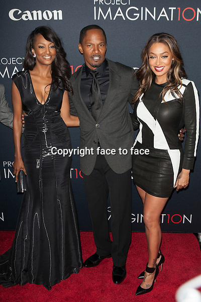 NEW YORK, NY - OCTOBER 24, 2013: Nichole Galicia, Jamie Foxx and Alani 'La La' Anthony attend the Premiere Of Canon's Project Imaginat10n Film Festival at Alice Tully Hall on October 24, 2013 in New York City. <br />
