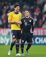 FUSSBALL   CHAMPIONS LEAGUE   SAISON 2012/2013   GRUPPENPHASE   FC Bayern Muenchen - FC Bate Borisov              05.12.2012 Jubel nach dem Sieg Mario Gomez und Xherdan Shaqiri (v. li., FC Bayern Muenchen)