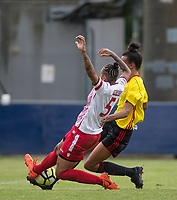 Dom Godbeer of Stevenage Ladies stops Natalie Murray of Watford Ladies during the pre season friendly match between Stevenage Ladies FC and Watford Ladies at The County Ground, Letchworth Garden City, England on 16 July 2017. Photo by Andy Rowland / PRiME Media Images.
