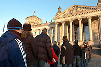 Tourists wait in line to enter the Reichstag building in Berlin December 28, 2008. It was opened in 1894 and housed the Reichstag until 1933, when it was severely damaged in a fire supposedly set by Dutch communist Marinus van der Lubbe, who was later beheaded for the crime. The building remained in ruins until the reunification of Germany, when it underwent reconstruction led by internationally renowned architect Norman Foster. After its completion in 1999, it became the meeting place of the modern German parliament, the Bundestag. (Photo by Alan Greth)