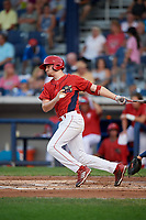 Williamsport Crosscutters left fielder Ben Pelletier (35) follows through on a swing during a game against the Mahoning Valley Scrappers on August 28, 2018 at BB&T Ballpark in Williamsport, Pennsylvania.  Williamsport defeated Mahoning Valley 8-0.  (Mike Janes/Four Seam Images)