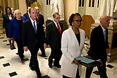 United States House Sergeant at Arms Paul Irving and Clerk of the US House Cheryl Johnson deliver the articles of impeachment against US President Donald J. Trump to the Secretary of the US Senate Julie Adams on Capitol Hill in Washington, DC, Wednesday, January 15, 2020. Following are impeachment managers, US Representative Jerrold Nadler (Democrat of New York), Chairman, US House Judiciary Committee; US Representative Adam Schiff (Democrat of California), Chairman, US House Permanent Select Committee on Intelligence; US Representative Hakeem Jeffries (Democrat of New York); US Representative Sylvia Garcia (Democrat of Texas); US Representative Val Demings (Democrat of Florida); US Representative Zoe Lofgren (Democrat of California); and US Representative Jason Crow (Democrat of Colorado).<br /> Credit: Jose Luis Magana / Pool via CNP