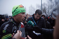 Sven Nys (BEL/Crelan-AAdrinks) being interviewed after the race<br /> <br /> Soudal Classic Leuven 2016
