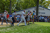 Ian Poulter (GBR), Yuta Ikeda (JAP), and Keegan Bradley (USA) head down 9 during 3rd round of the 100th PGA Championship at Bellerive Country Club, St. Louis, Missouri. 8/11/2018.<br /> Picture: Golffile | Ken Murray<br /> <br /> All photo usage must carry mandatory copyright credit (&copy; Golffile | Ken Murray)