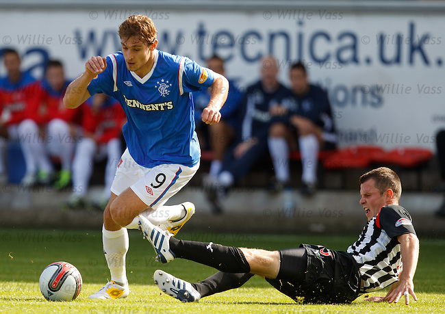 Nikica Jelavic turns past Andy Downie