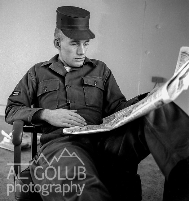 A/2C Lonnie Meeker writer reads Fresno Bee.<br /> <br /> March 1964: CAFB, California<br /> Staff of the Valley Bomber, 93rd Bomb Wing, Directory of Information, SAC<br /> Photo by Al Golub/Golub Photography <br /> <br /> Castle is named for Brigadier General Frederick W. Castle, who died on Dec. 24, 1944 flying his 30th bombing mission. He died leading an armada of 2000 B-17s on a strike against German airfields. On the way to the target, an engine failure over Liege, Belgium caused his bomber to fall behind, where it was attacked by Germans and caught fire. He ordered his men to bail out but stayed alone at the controls of the flaming Flying Fortress until it crashed. The entire crew, except Gen. Castle and one airman killed before the bailout order, survived. Gen. Castle received a Medal of Honor posthumously for his bravery.<br /> <br /> Castle became home to the 93rd Bombardment Wing in 1947. Aircraft stationed at Castle included B-29, B-17 and C-54 aircraft, with B-50 bombers arriving in 1949. In 1954, B-47 bombers arrived.  On June 29, 1955, Castle received the Air Force's first B-52. These heavy bombers can hold the equivalent of three railroad cars' worth of fuel. The first Air Force KC-135 jet tanker arrived May 18, 1957<br /> <br /> Castle was selected for closure under the Defense Base Closure and Realignment Act of 1990 during Round II Base Closure Commission deliberations (BRAC 91). The last of the B-52s left the base in 1994, followed by the departure of the last of the KC-135s in early 1995. The base closed September 30, 1995.