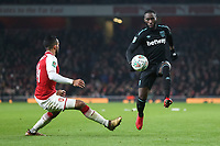 Theo Walcott of Arsenal and Arthur Masuaku of West Ham United during the Carabao Cup Quarter Final match between Arsenal and West Ham United at Emirates Stadium on December 19th 2017 in London, England. <br /> Premier League 2017/2018 <br /> Foto Panoramic / Insidefoto