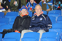 Iceland supporters. Cardiff City Stadium, Cardiff, Wales, Wednesday 5th March 2014. The Football Association of Wales - Vauxhall International Friendly - Wales v Iceland. Pictures by Jeff Thomas Photography - www.jaypics.photoshelter.com - Contact: thomastwotimes@live.co.uk - 07837 386244