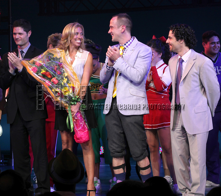 Tom Kitt,  Amanda Green, Jeff Whitty, & Alex Lacamoire during the Broadway Opening Night Performance Curtain Call for  'Bring it On The Musical' at the St. James Theatre in New York City on 8/1/2012