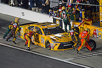 12-13 February, 2016, Daytona Beach, Florida, USA<br /> Kyle Busch, M&M's 75 Toyota Camry makes a pit stop.<br /> ©2016, F. Peirce Williams