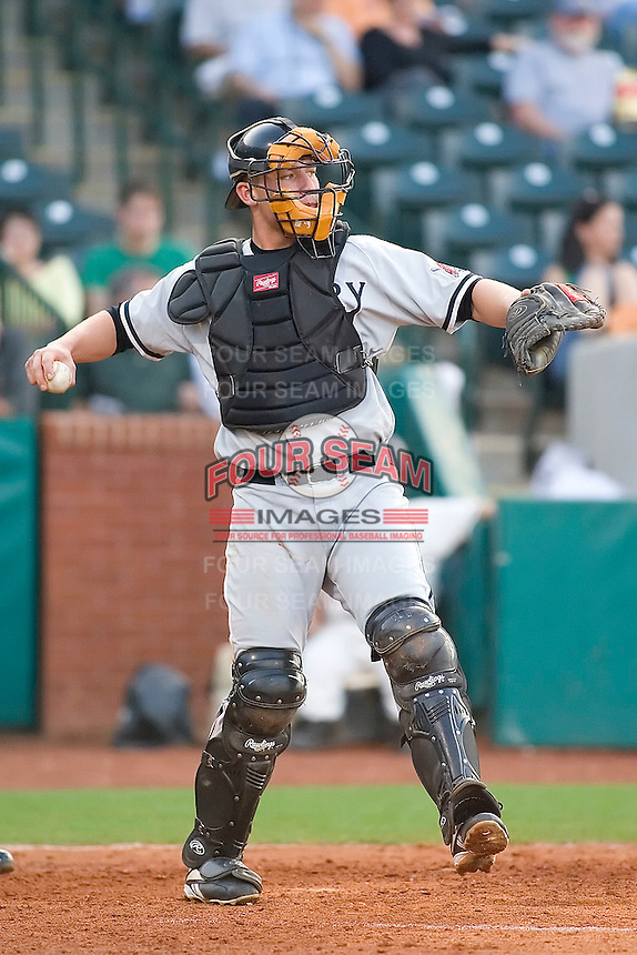 Hickory catcher Steve Lerud on defense versus Greensboro at First Horizon Park in Greensboro, NC, Thursday, June 8, 2006.  Hickory defeated Greensboro 5-4 in 8 innings.