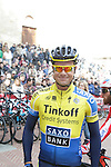 Nicolas Roche (IRL) Tinkoff Saxo arrives to sign on in San Gimignano before the start of the 2014 Strade Bianche race over the white dusty gravel roads of Tuscany, Italy. 8th March 2014.<br /> Picture: Eoin Clarke www.newsfile.ie