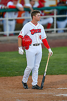 Connor Justus (16) of the Orem Owlz waits to bat against the Ogden Raptors in Pioneer League action at Home of the Owlz on June 25, 2016 in Orem, Utah. Orem defeated Ogden 4-1.  (Stephen Smith/Four Seam Images)