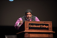 "Fifty years after Rev. Martin Luther King Jr. spoke from the same podium, North Carolina NAACP leader and activist Rev. Dr. William J. Barber II speaks on ""Revival, Resilience, Redemption After Rejection: Analyzing the 2016 Election and How to Move Forward"" on Wednesday, Feb. 1 in Thorne Hall. Rev. Dr. Barber is Pastor of Greenleaf Christian Church, Disciples of Christ in Goldsboro, North Carolina and architect of the Forward Together Moral Movement. After the program, he signed copies of his latest book, The Third Reconstruction: How a Moral Movement Is Overcoming the Politics of Division and Fear.<br /> Campus sponsors of Rev. Dr. Barber's speech include the Office of Religious and Spiritual Life; departments of Politics and Urban and Environmental Policy; ASOC; Black Student Alliance; Asian Pacific Americans for Liberation; Diversity & Equity Board; and J-Street. Community sponsors include the Black Worker Center; Clergy and Laity United for Economic Justice; Coalition for Human Immigrant Rights in LA; Los Angeles Alliance for a New Economy; Los Angeles County Federation of Labor; and the Southern Christian Leadership Conference.<br /> (Photo by Marc Campos, Occidental College Photographer)"