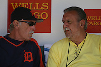 Jim Leyland and Mickey Palmer. Baseball: Detroit Tigers vs Oakland Athletics at McAfee Coliseum in Oakland, CA on July 4, 2006. Photo by Brad Mangin