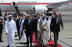 Egyptian Foreign Minister Sameh Shoukry welcomes UAE's Foreign Minister Sheikh Abdullah bin Zayed bin Sultan Al Nahyan (C) upon his arrival for an official visit on June 9, 2015 in the Egyptian capital, Cairo. Photo by Egyptian Presidency