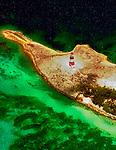Aerial Photograph of Castle Island Lighthouse near Acklin Island, Bahamas Southeastern entrance to Crooked Island Passage.