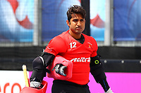 Pakistan goalkeeper Mazhar Abbas during the Hockey World League Quarter-Final match between Argentina and Pakistan at the Olympic Park, London, England on 22 June 2017. Photo by Steve McCarthy.