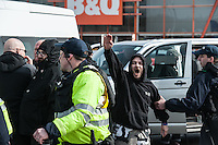 Massive Police operation in Dover to keep anti fascists and far right groups apart. 2-4-16 The neo nazi Soth East Alliance group held an anti refugee demo in Dover. Anti fascists from ANTIFA, the UAF and Kent Anti Racists blocked the route of the march leading to scuffles with Police and arrests.