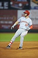 Justin Bellinger (50) of the Greeneville Reds stops after rounding second base during the game against the Pulaski Yankees at Calfee Park on June 23, 2018 in Pulaski, Virginia. The Reds defeated the Yankees 6-5.  (Brian Westerholt/Four Seam Images)