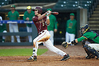 Jackson Lueck (2) of the Florida State Seminoles follows through on his swing against the Notre Dame Fighting Irish in Game Four of the 2017 ACC Baseball Championship at Louisville Slugger Field on May 24, 2017 in Louisville, Kentucky. The Seminoles walked-off the Fighting Irish 5-3 in 12 innings. (Brian Westerholt/Four Seam Images)
