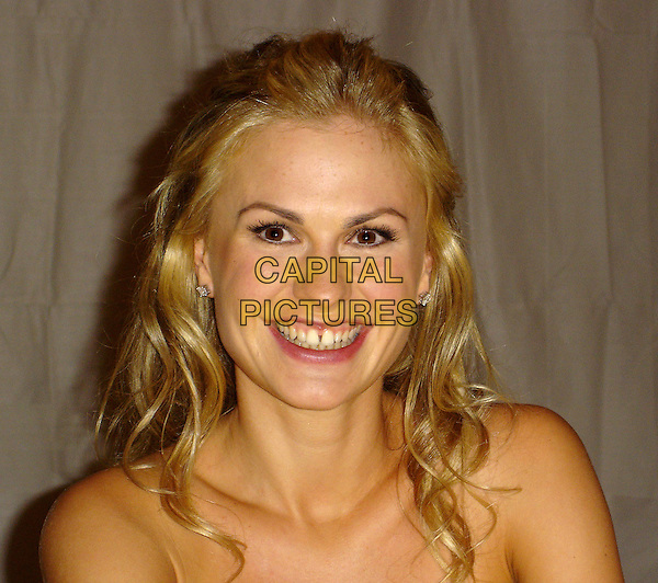 """ANNA PAQUIN.Photocall for  """"Trueblood"""", The Wetherly Room, Four Seasons, Los Angeles, California, USA..September 2nd, 2008.headshot portrait strapless          .CAP/AW.©Anita Weber/Capital Pictures."""