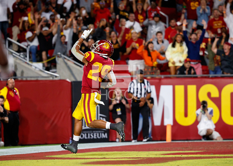 LOS ANGELES, CA - SEPTEMBER 8: USC Trojans running back Vavae Malepeai #29 celebrates after scoring a touchdown during a game between USC and Stanford Football at Los Angeles Memorial Coliseum on September 7, 2019 in Los Angeles, California.