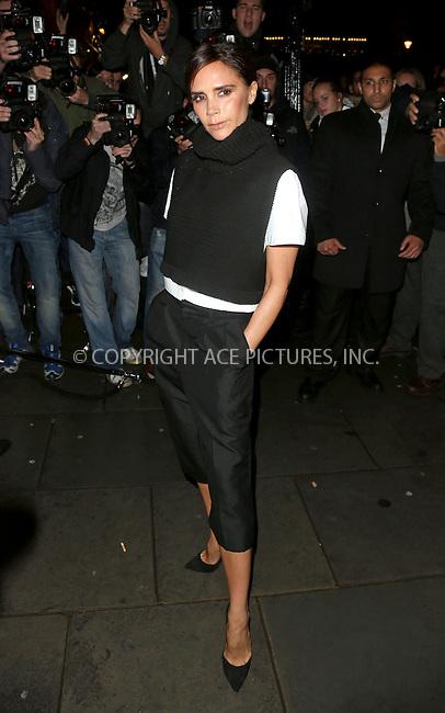WWW.ACEPIXS.COM<br /> <br /> US Sales Only<br /> <br /> September 15 2013, London<br /> <br /> Victoria Beckham arrives at the Vogue dinner held at Balthazar during London Fashion Week SS14 on September 15 2013 in London<br /> <br /> By Line: Famous/ACE Pictures<br /> <br /> <br /> ACE Pictures, Inc.<br /> tel: 646 769 0430<br /> Email: info@acepixs.com<br /> www.acepixs.com