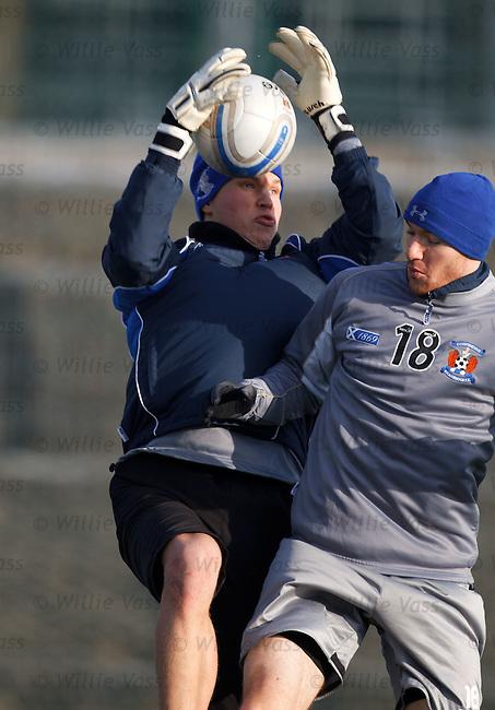 New Finnish goalkeeper Anssi Jaakkola with Conor Sammon