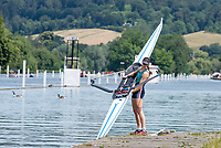 "Henley on Thames, United Kingdom, 24th June 2018, Sunday, ""Henley Women's Regatta"", view, Cara Grzeskowiak, Capital Lakes, AUS, Women's Single Sculler, floats her Boat, Henley Reach, River Thames, Thames Valley, England, © Peter SPURRIER,  24/06/2018"