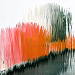 Black, red, gray abstract image of boat in water