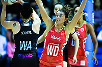 England wing defence Beth Cobden marks Whitney Souness during the Quad Series netball match between the New Zealand Silver Ferns and England Roses at Trusts Stadium, Auckland, New Zealand on Wednesday, 30 August 2017. Photo: Dave Lintott / lintottphoto.co.nz