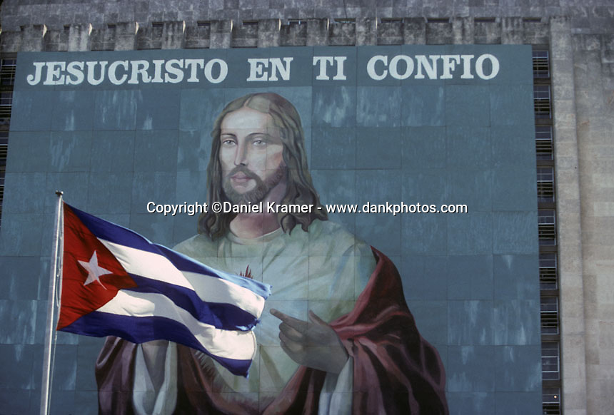 A mural of Jesus Christ painted onto a building that faces the Revolutionary Plaza in Havana.