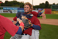 Mahoning Valley Scrappers catcher Jason Rodriguez (20) celebrates after winning the division title during the second game of a doubleheader against the Batavia Muckdogs on September 4, 2017 at Dwyer Stadium in Batavia, New York.  Mahoning Valley defeated Batavia 6-2 to clinch the Pinckney Division Title.  (Mike Janes/Four Seam Images)