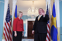 Washington, DC - April 29, 2019: U.S. Secretary of State Mike Pompeo meets with Swedish Foreign Minister Margot Wallstrom at the Department of State on April 29, 2019.  (Photo by Lenin Nolly/Media Images International)