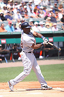 Detroit Tigers designated hitter Torii Hunter (48) at bat against the Miami Marlins during a spring training game at the Roger Dean Complex in Jupiter, Florida on March 25, 2013. Detroit defeated Miami 6-3. (Stacy Jo Grant/Four Seam Images)........