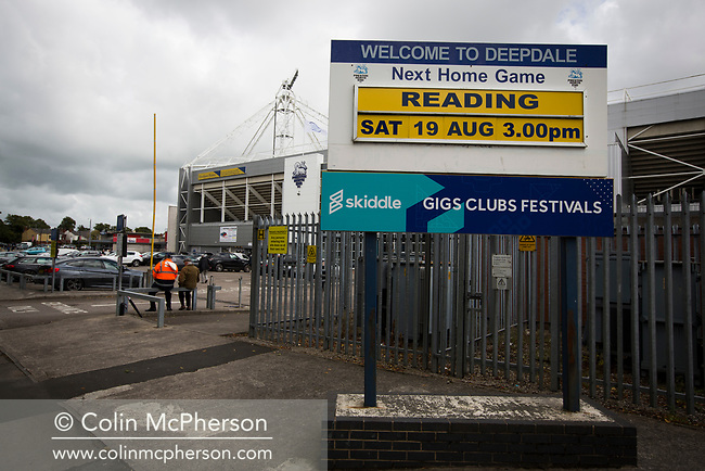 A sign board advertising the day's fixture before Preston North End take on Reading in an EFL Championship match at Deepdale. The home team won the match 1-0, Jordan Hughill scoring the only goal after 22nd minutes, watched by a crowd of 11,174.