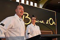 Melbourne, 30 May 2017 - Michael Cole and Laura Skvor of the Georgie Bass Cafe & Cookery in Flinders speaks to the audience after winning the Australian selection trials of the Bocuse d'Or culinary competition held during the Food Service Australia show at the Royal Exhibition Building in Melbourne, Australia. Photo Sydney Low