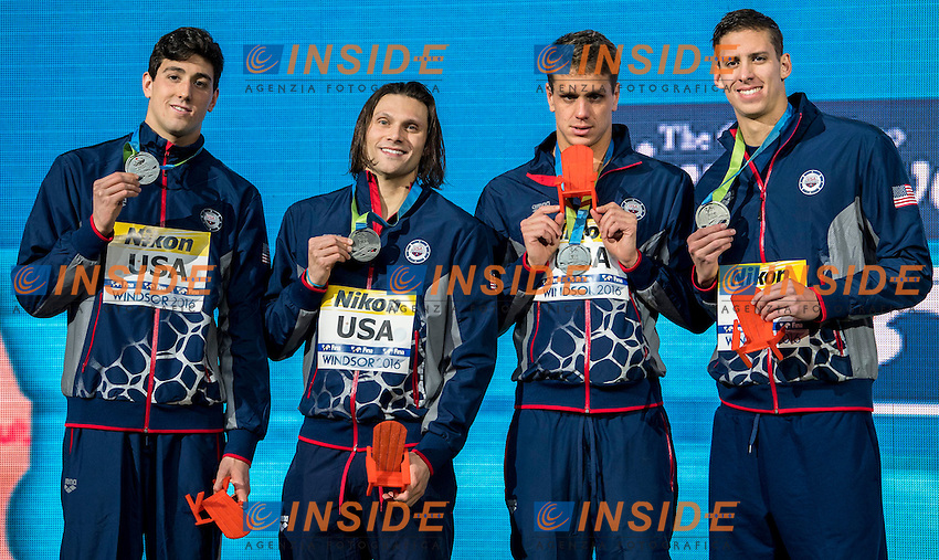United State USA Silver Medal <br /> PEBLEY Jacob MILLER Cody SHIELDS Tom <br /> CHADWICK Michael Hunt <br /> Men's 4x50m Medley Relay<br /> 13th Fina World Swimming Championships 25m <br /> Windsor  Dec. 10th, 2016 - Day05 Final<br /> WFCU Centre - Windsor Ontario Canada CAN <br /> 20161210 WFCU Centre - Windsor Ontario Canada CAN <br /> Photo &copy; Giorgio Scala/Deepbluemedia/Insidefoto