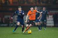 27th December 2019; Dens Park, Dundee, Scotland; Scottish Championship Football, Dundee Football Club versus Dundee United; Liam Smith of Dundee United and Finlay Robertson of Dundee  - Editorial Use