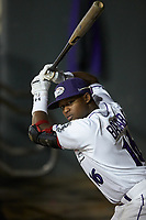 Luis Alexander Basabe (16) of the Winston-Salem Dash practices a right-handed stance in the dugout during the game against the Lynchburg Hillcats at BB&T Ballpark on May 1, 2018 in Winston-Salem, North Carolina. The Dash defeated the Hillcats 9-0. (Brian Westerholt/Four Seam Images)