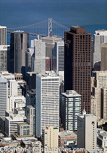 aerial photograph 555 California Street, 101 California Street, skyscrapers San Francisco