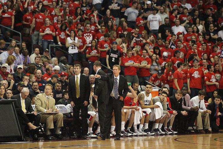 LAS VEGAS, NV - MARCH 7:  Mark Few during the Gonzaga Bulldogs 77-62 win over Loyola Marymount in the WCC Basketball Tournament on March 7, 2010 at Orleans Arena in Las Vegas Nevada.