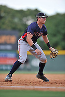 Third baseman Austin Riley (13) of the Rome Braves plays defense in a game against the Greenville Drive on Sunday, July 31, 2016, at Fluor Field at the West End in Greenville, South Carolina. Rome won, 6-3. (Tom Priddy/Four Seam Images)